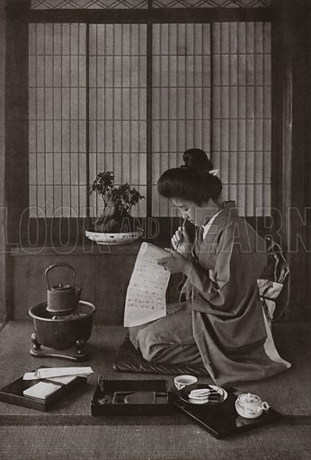 Writing a Letter. Illustration for In Lotus-Land Japan by Herbert G Ponting (new and rev edn, 1922).