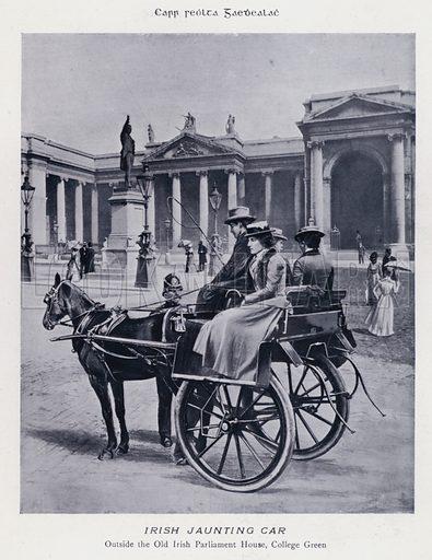 Irish Jaunting Car. Illustration for Types of Irish Life and Character by William Lawrence, Photographer, Dublin (Emerald Isle Album Co, c 1895).
