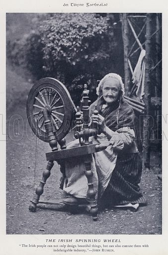The Irish Spinning Wheel. Illustration for Types of Irish Life and Character by William Lawrence, Photographer, Dublin (Emerald Isle Album Co, c 1895).