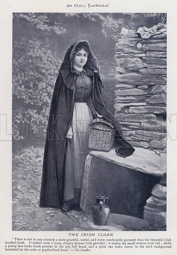 The Irish Cloak. Illustration for Types of Irish Life and Character by William Lawrence, Photographer, Dublin (Emerald Isle Album Co, c 1895).