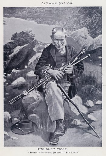 The Irish Piper. Illustration for Types of Irish Life and Character by William Lawrence, Photographer, Dublin (Emerald Isle Album Co, c 1895).
