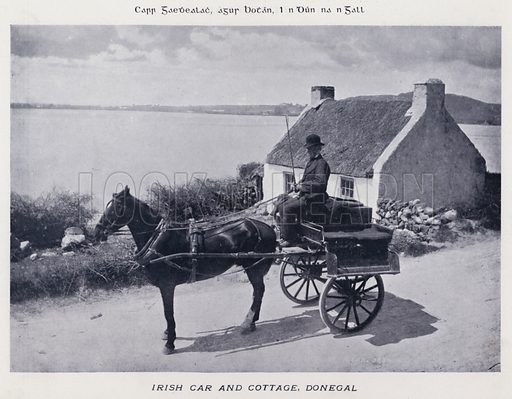 Irish Car and Cottage, Donegal. Illustration for Types of Irish Life and Character by William Lawrence, Photographer, Dublin (Emerald Isle Album Co, c 1895).