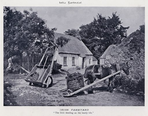 Irish Farmyard. Illustration for Types of Irish Life and Character by William Lawrence, Photographer, Dublin (Emerald Isle Album Co, c 1895).