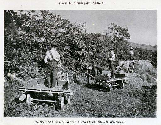 Irish Hay Cart with Primitive Solid Wheels. Illustration for Types of Irish Life and Character by William Lawrence, Photographer, Dublin (Emerald Isle Album Co, c 1895).