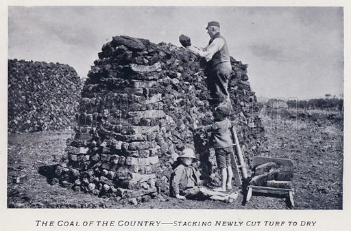 The Coal of the Country, Stacking Newly Cut Turf to Dry. Illustration for Types of Irish Life and Character by William Lawrence, Photographer, Dublin (Emerald Isle Album Co, c 1895).
