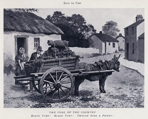 The Coal of the Country, Black Turf, Black Turf, Twelve Sods a Penny. Illustration for Types of Irish Life and Character by William Lawrence, Photographer, Dublin (Emerald Isle Album Co, c 1895).