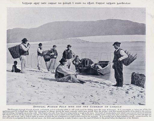 Donegal Fisher Folk who use the Curragh or Coracle. Illustration for Types of Irish Life and Character by William Lawrence, Photographer, Dublin (Emerald Isle Album Co, c 1895).