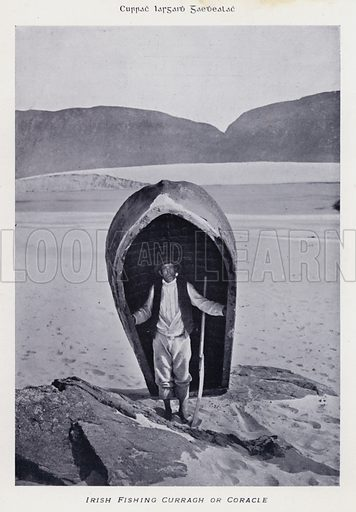 Irish Fishing Curragh or Coracle. Illustration for Types of Irish Life and Character by William Lawrence, Photographer, Dublin (Emerald Isle Album Co, c 1895).