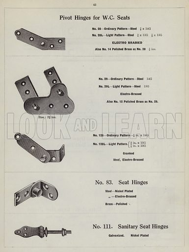 """Hinges.  Page from catalogue """"Hinges, Locks, Ironfoundry,"""" c 1920."""