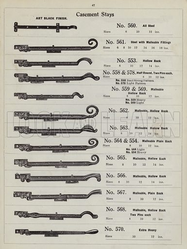 """Window casement stays.  Page from catalogue """"Hinges, Locks, Ironfoundry,"""" c 1920."""