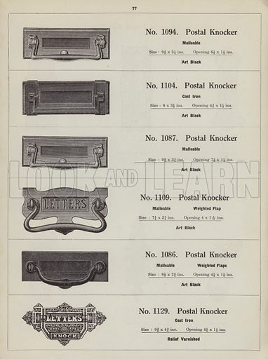 """Postal knockers.  Page from catalogue """"Hinges, Locks, Ironfoundry,"""" c 1920."""