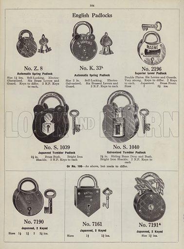 "English Padlocks.  Page from catalogue ""Hinges, Locks, Ironfoundry,"" c 1920."