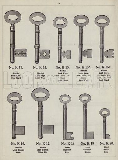 "Keys and key blanks.  Page from catalogue ""Hinges, Locks, Ironfoundry,"" c 1920."