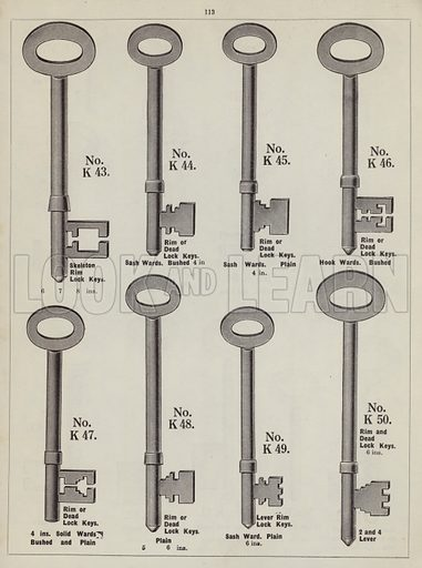 """Keys and key blanks.  Page from catalogue """"Hinges, Locks, Ironfoundry,"""" c 1920."""