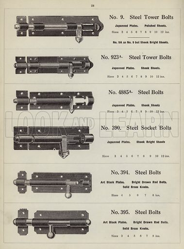 """Padlock bolts.  Page from catalogue """"Hinges, Locks, Ironfoundry,"""" c 1920."""