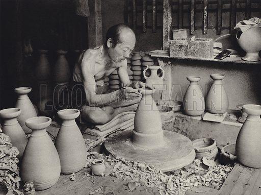 Potter at work. Illustration for Japan, Korea Und Formosa by F M Trautz (Atlantis-Verlag, 1930).  Gravure printed.