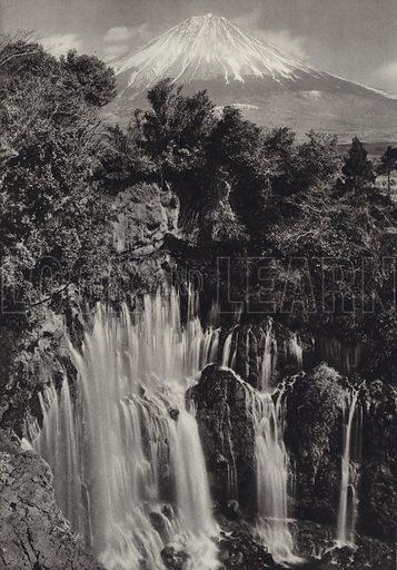 Shiraito waterfall. Illustration for Japan, Korea Und Formosa by F M Trautz (Atlantis-Verlag, 1930).  Gravure printed.
