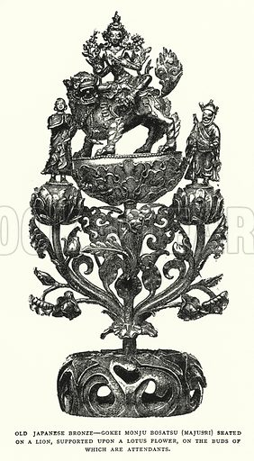 Old Japanese Bronze, Gokei Monju Bosatsu (Majusri) Seated on a Lion, Supported Upon a Lotus Flower, on the Buds of Which Are Attendants. Illustration for The ABC of Japanese Art by J F Blacker (2nd edn, Stanley Paul, 1922).
