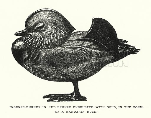 Incense-Burner in Red Bronze Encrusted With Gold, in the Form of a Mandarin Duck. Illustration for The ABC of Japanese Art by J F Blacker (2nd edn, Stanley Paul, 1922).