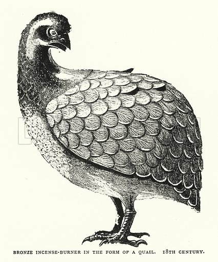 Bronze Incense-Burner in the Form of a Quail, 18th Century. Illustration for The ABC of Japanese Art by J F Blacker (2nd edn, Stanley Paul, 1922).