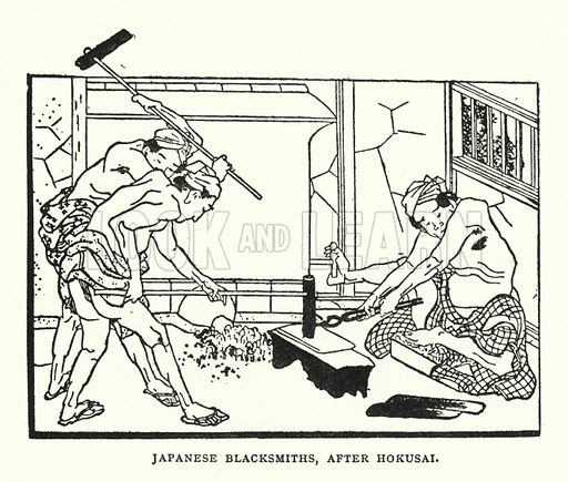 Japanese Blacksmiths, After Hokusai. Illustration for The ABC of Japanese Art by J F Blacker (2nd edn, Stanley Paul, 1922).
