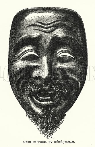 Mask in Wood, by Deme-Jioman. Illustration for The ABC of Japanese Art by J F Blacker (2nd edn, Stanley Paul, 1922).
