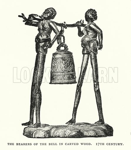 The Bearers of the Bell in Carved Wood, 17th Century. Illustration for The ABC of Japanese Art by J F Blacker (2nd edn, Stanley Paul, 1922).