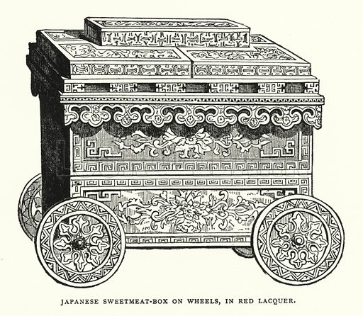 Japanese Sweetmeat-Box on Wheels, in Red Lacquer. Illustration for The ABC of Japanese Art by J F Blacker (2nd edn, Stanley Paul, 1922).