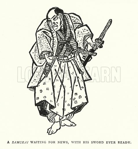 A Samurai Waiting For News, With His Sword Ever Ready. Illustration for The ABC of Japanese Art by J F Blacker (2nd edn, Stanley Paul, 1922).