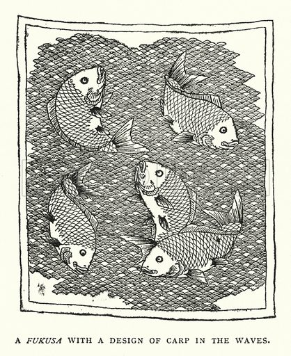 A Fukusa With a Design of Carp in the Waves. Illustration for The ABC of Japanese Art by J F Blacker (2nd edn, Stanley Paul, 1922).