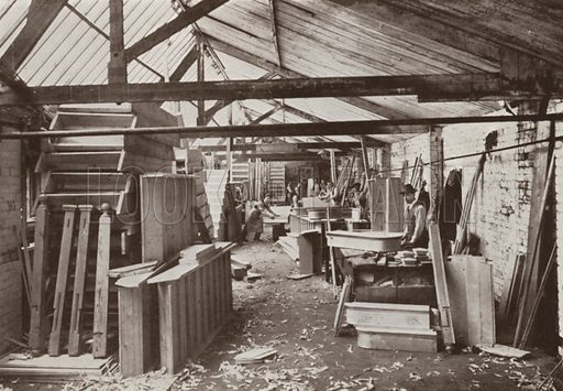 View of stair shop. Illustration for catalogue of Sharp Bros and Knight Limited, Joinery Manufacturers, Timber Merchants, Planing, Sawing and Moulding Mills, Burton-on-Trent, early 20th century.