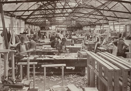 View of joiners' shop no 5. Illustration for catalogue of Sharp Bros and Knight Limited, Joinery Manufacturers, Timber Merchants, Planing, Sawing and Moulding Mills, Burton-on-Trent, early 20th century.