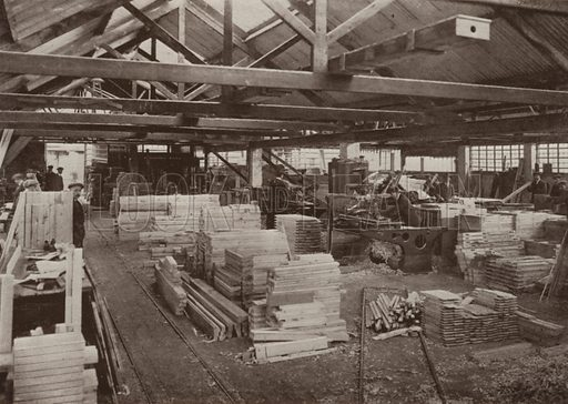 View of joiners' machine shop no 2. Illustration for catalogue of Sharp Bros and Knight Limited, Joinery Manufacturers, Timber Merchants, Planing, Sawing and Moulding Mills, Burton-on-Trent, early 20th century.