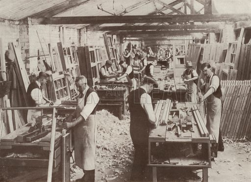 View of joiners' shop no 4. Illustration for catalogue of Sharp Bros and Knight Limited, Joinery Manufacturers, Timber Merchants, Planing, Sawing and Moulding Mills, Burton-on-Trent, early 20th century.