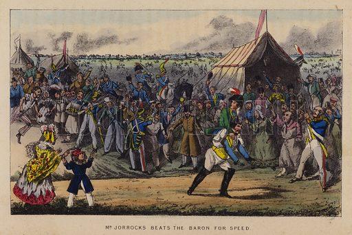 Mr Jorrocks beats the Baron for speed. Illustration for Jorrocks' Jaunts and Jollities (4th edn, George Routledge, 1874).