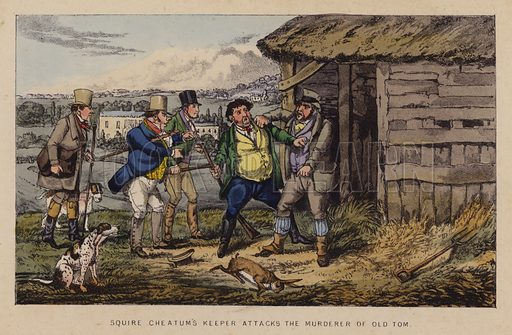 Squire Cheatum's keeper attacks the murderer of Old Tom. Illustration for Jorrocks' Jaunts and Jollities (4th edn, George Routledge, 1874).