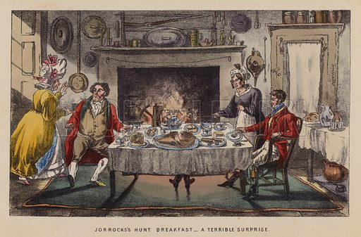 Jorrocks's hunt breakfast, a terrible surprise. Illustration for Jorrocks' Jaunts and Jollities (4th edn, George Routledge, 1874).