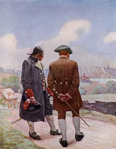 The Parting. For we both knew without a word said that we had come to where our ways parted. Illustration for Kidnapped, The Adventures of David Balfour, by Robert Louis Stevenson, with illustrations by N C Wyeth (Cassell, 1913).