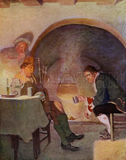Two Pipers in Balquhidder. All night long the brose was going and the pipes changing hands. Illustration for Kidnapped, The Adventures of David Balfour, by Robert Louis Stevenson, with illustrations by N C Wyeth (Cassell, 1913).
