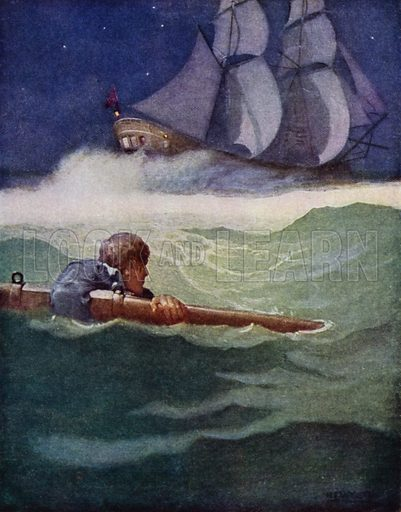 "The Wreck of the ""Covenant."" It was the spare yard I had got hold of, and I was amazed to see how far I had travelled from the brig. Illustration for Kidnapped, The Adventures of David Balfour, by Robert Louis Stevenson, with illustrations by N C Wyeth (Cassell, 1913)."
