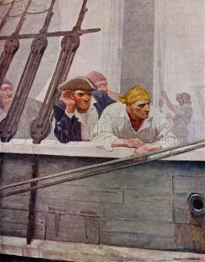 "The Brig ""Covenant"" in a Fog. All afternoon, when I went on deck, I saw men and officers listening hard over the bulwarks. Illustration for Kidnapped, The Adventures of David Balfour, by Robert Louis Stevenson, with illustrations by N C Wyeth (Cassell, 1913)."