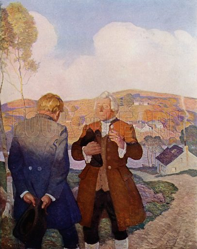 Mr Campbell, the Minister of Essendean. With that he prayed a little while aloud, and in affecting terms, for a young man setting out into the world. Illustration for Kidnapped, The Adventures of David Balfour, by Robert Louis Stevenson, with illustrations by N C Wyeth (Cassell, 1913).