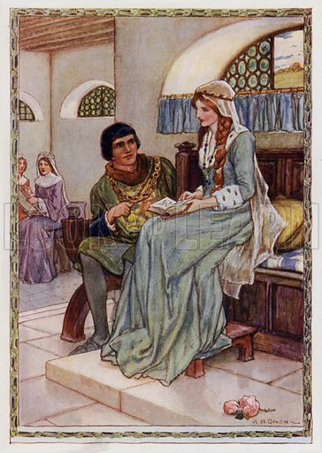 """Sir Launcelot and the Queen talked sadly together. From """"The Plots of Sir Mordred."""" Illustration for King Arthur and the Knights of the Round Table by Doris Ashley (Raphael Tuck, c 1922)."""