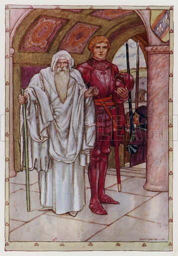 "There came an aged man . . . leading by the hand the young new-made knight. From ""Sir Galahad and the Holy Grail."" Illustration for King Arthur and the Knights of the Round Table by Doris Ashley (Raphael Tuck, c 1922)."