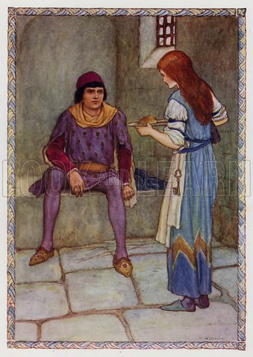 """""""I ask your promise to release my father."""" From """"Launcelot of the Lake."""" Illustration for King Arthur and the Knights of the Round Table by Doris Ashley (Raphael Tuck, c 1922)."""