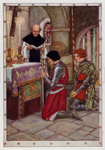 """With all due rites Sir Palamides was baptised. From """"Tristram and Isolde."""" Illustration for King Arthur and the Knights of the Round Table by Doris Ashley (Raphael Tuck, c 1922)."""