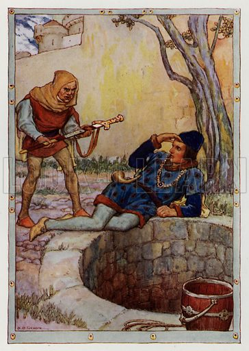 "There appeared before me a dwarf. From ""The Fate of Merlin and of Excalibur."" Illustration for King Arthur and the Knights of the Round Table by Doris Ashley (Raphael Tuck, c 1922)."