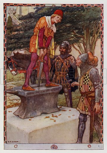 """The youth pulled it out easily. From """"How Arthur began to Reign."""" Illustration for King Arthur and the Knights of the Round Table by Doris Ashley (Raphael Tuck, c 1922)."""
