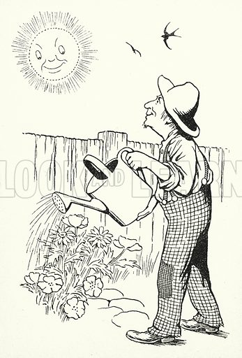 A sunshiny shower / Won't last half an hour. Illustration for A Little Book of Knowledge for Little-Folks illustrated by Percy Billinghurst (Sands, c 1910).