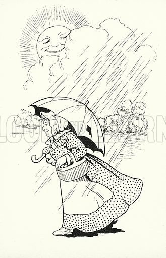 St Swithen's day if thou dost rain, / For forty days it will remain; / St Swithen's day if thou be fair, / For forty days 'twill rain nae mair. Illustration for A Little Book of Knowledge for Little-Folks illustrated by Percy Billinghurst (Sands, c 1910).